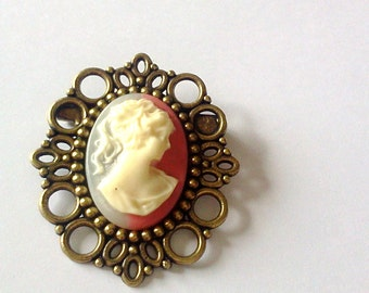 Raspberry Cream Cameo Brooch- Lady Cameo Pin-Antique Brass-Victorian Regency-EGL Fashion-Fashion Jewelry-Everyday Chic-Gift for Her-Trend