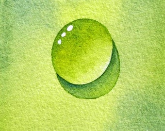 Water Drops - Gin and Tonic Drop Original Watercolor ACEO