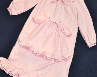 Custom Set ~ Pretty in Pink Nightgown for Girl and 18 inch Doll ~ Size 10 - 16