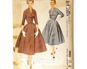 McCall's 3002 Misses 1950s Shirtwaist Dress Pattern Bust 34 Kimono Sleeve Three-Quarter Vintage Full Dress Sewing Pattern