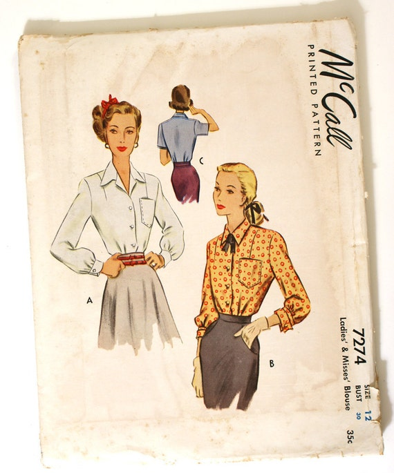 McCall 7274 Vintage 1950s Blouse Pattern Bust 30 UNCUT Short or Long Sleeves
