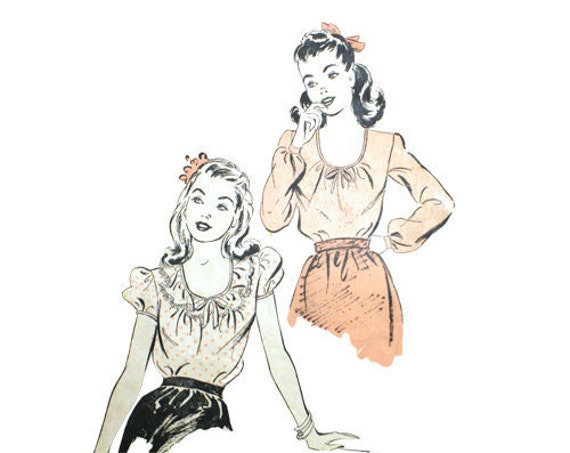Advance 3790 Vintage 1940s Peasant Blouse Pattern Puffed Sleeves Bust 31