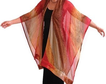 MAROC Hand Painted Silk Ruana, Wedding or Travel Attire for Women, Made in USA Gold, Red, Sienna Mother of the Bride or Groom, Silk Shawl