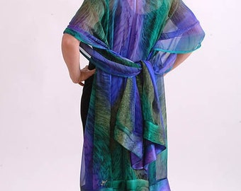 Mediterranean Luxury Hand Painted Silk Ruana
