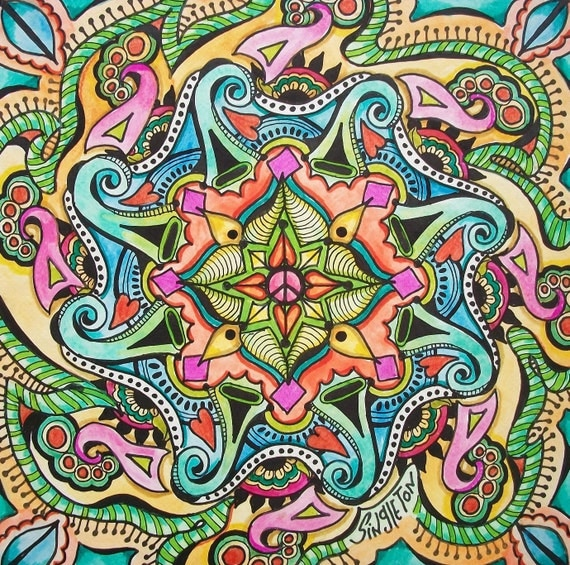 For the Love of Peace, Singleton Hippie Art, Original Mandala, Peace mandala, meditation mandala, peace sign art, zen art