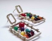 XL Abacus  earrings  - Sterling silver and colorful gems - Perfect gift for teacher Math Calculus Accounting
