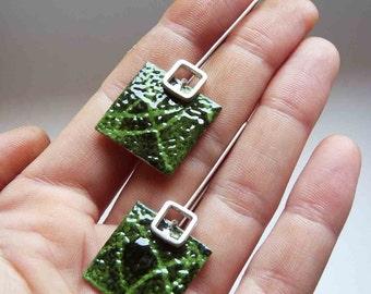 Green enamel earrings, Dangle earrings, square earrings, Stencil earrings,  Sterling silver and copper