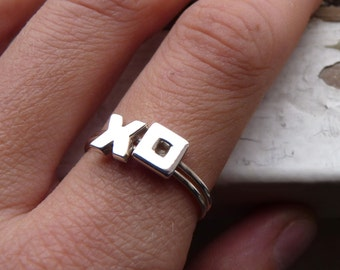 Hug and kiss rings, XOXO rings Stacking Ring in Sterling Silver,Custom initial ring, Personalized ring, Made to order, Set of Two