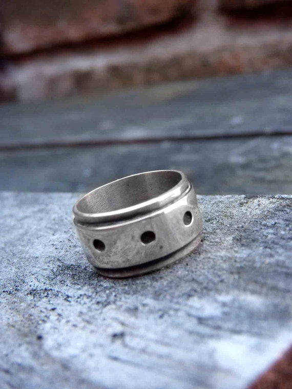 "Engagement Band Ring, Unisex Ring, Sterling silver with Black Patina, ""Lunares Ring"""