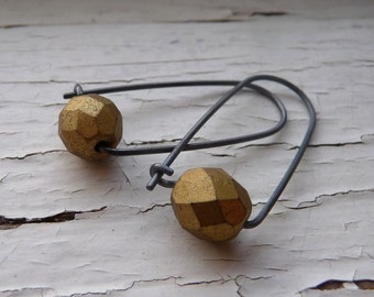 gold and black box earrings
