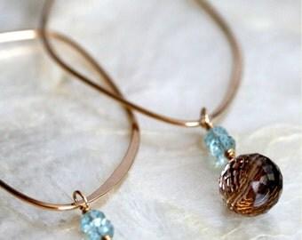 Aquamarine Earrings - Smoky Quartz Earrings - Gold Hoop Earrings -Brown and Blue Earrings -  Detachable Dangle