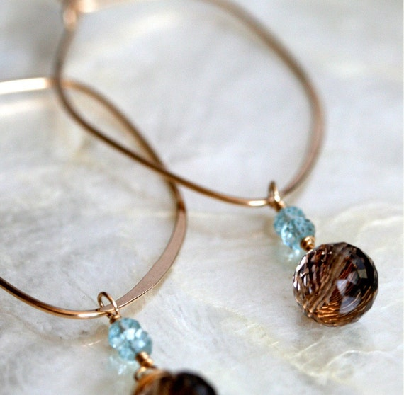 Aquamarine Earrings - Smoky Quartz Earrings - Gold Hoop Earrings -Brown and Blue Earrings -  Detachable Dangle