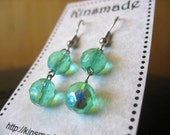 Faceted Green Crystal Bead Earrings