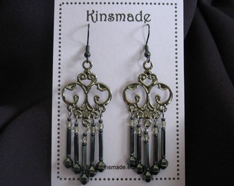Grey Cloud - Chandelier Bugle Bead Earrings