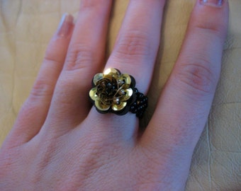 Metallic Gold Sequined Cocktail Ring for Large Finger with black beads