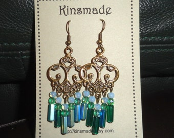 Emerald Green Chandelier Earrings with bright teal beaded handmade BOHO jewelry