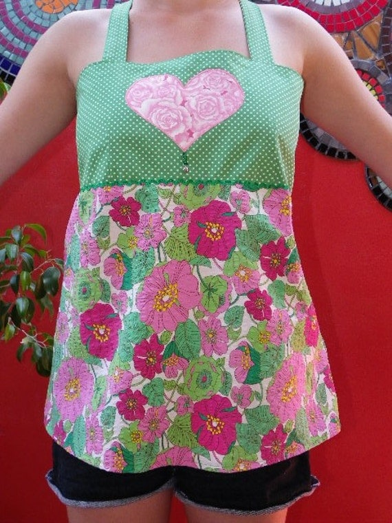 Funky Pink and Green Flower Apron Top