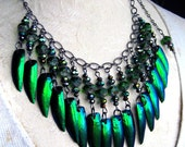 Fairy Elytra Jewel Beetle Wing Necklace Emerald Green Color Sparkling Crystals FAIRY TRINKETS by Spinning Castle