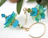 Aqua Turquoise Green Flower Earrings,Glass Beaded Earrings,Lucite,Gold Earrings - RIVENDELL