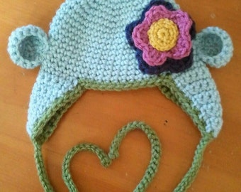 Clearance SALE Ready to Ship RTS - Crocheted Blue Monkey Ear Hat with Flower - 0-3M Size
