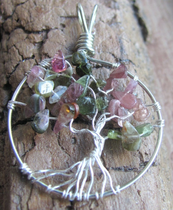 Tree of Life pendant.Mothers Day Pendant. Grandmothers Pendant. Watermelon tourmaline strength, beauty, creativity, abundant life