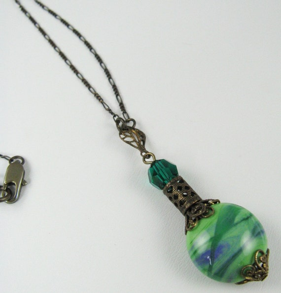 Genie In A Bottle Necklace Sea Green With Emerald By
