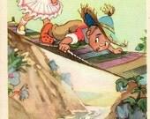 Vintage postcard L. Vladimirski Fairy tale Neznaiki adventure