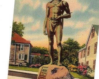 Statue of Massasoit in Plymouth, Mass. Vintage postcard, Massachusetts souvenir post card, Famous Native American statue