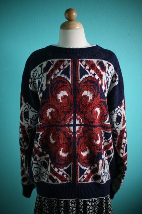 SALE Vintage 70's Folk Design Knitted Sweater