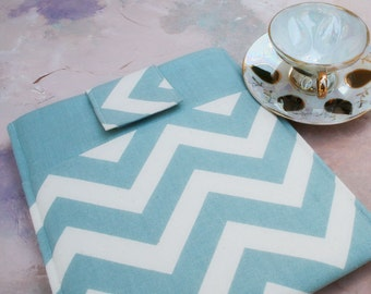 iPad Case, iPad Cover, IPad Sleeve, Ipad Holder,  iPad 2 Case, Ipad 2 Sleeve, Ipad 2 Cover in Blue Chevron Linen