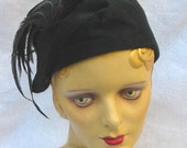Edwardian Antique WWI Black Cloche Hat with Feathers