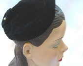 1950's Vintage Black Velvet Lucy Hat with Self Buttons Robinson's California