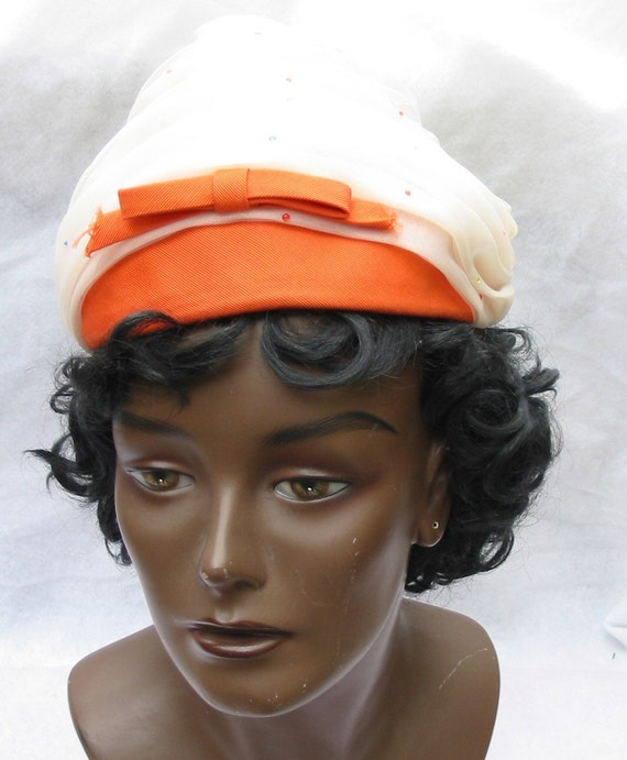 Clearance 1960's Vintage Orange and White Chiffon Pixie Hat with Bow