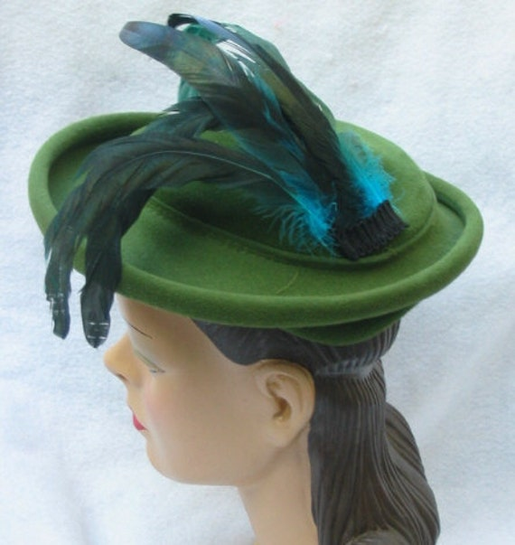 RESERVED 1950's Vintage Green Felt Hat with Blue Feathers