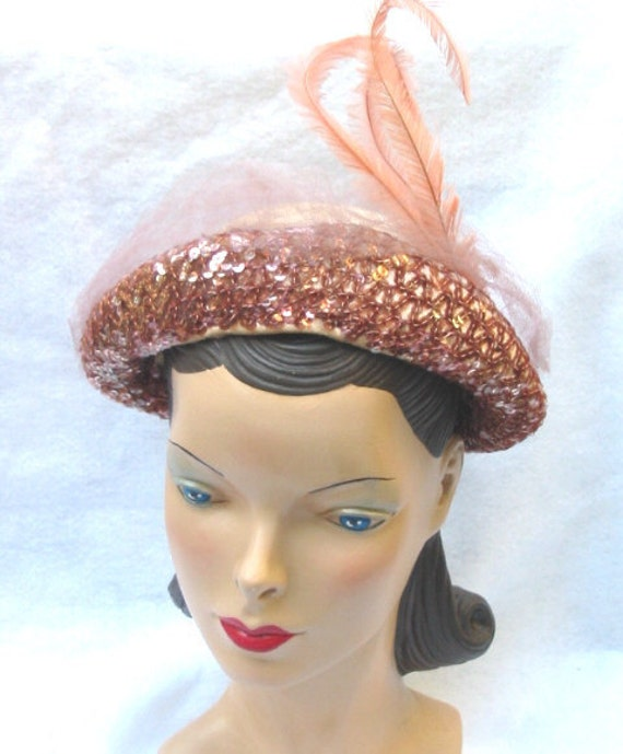 1940's Vintage Pink Velvet Sequin and Feather Evening Hat
