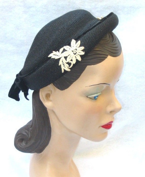 1950's Vintage Lucy Style Black Hat with Lace Flowers