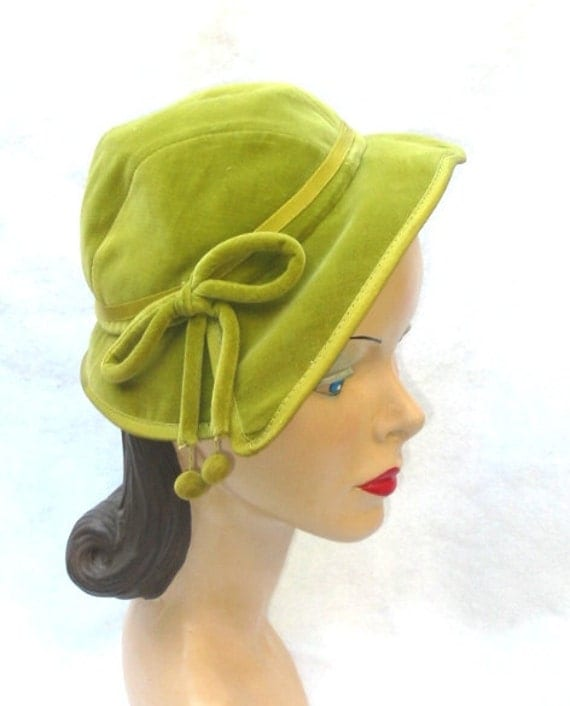 Clearance 1960's Vintage Velvet Lime Green Hat with Bow And Pom Poms