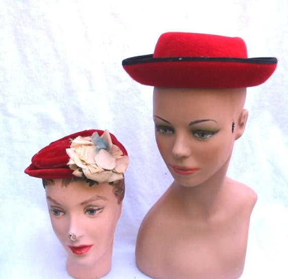 Lot Of Two Vintage Red Hats 50's and 80's