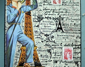 ARTWORK. A Mechanic in Paris. Recycled MapArt using a 1920 Map of France