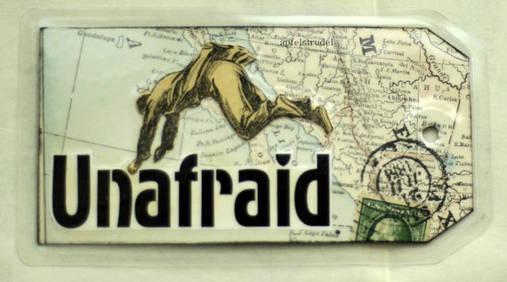 Medium Size Recycled Art-to-Go Series. Unafraid. Handcrafted from Vintage Maps and Images