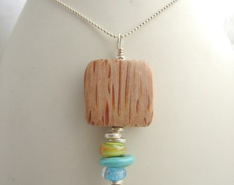 Layered Amoeba and Wood Necklace 4
