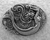 Green Girl Studios Pewter Mermaid Pearl Coin Link