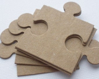 18 PUZZLE PiECES (3 Complete Sets)  Bare CHiPBOARD  Die Cuts