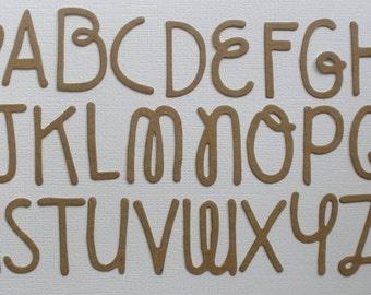 "DOODLE BLOCK FONT -  27 Piece Set - Letters / Heart / - Raw CHiPBOARD Die Cuts - 1 1/4"""