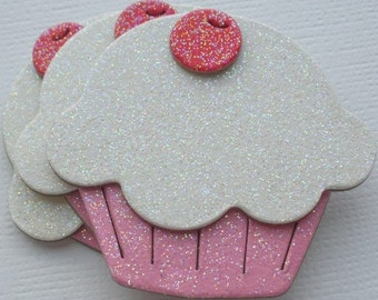 6 WHiTE & PiNK Glitter Sugar Coated Cupcakes - Chipboard Die Cuts