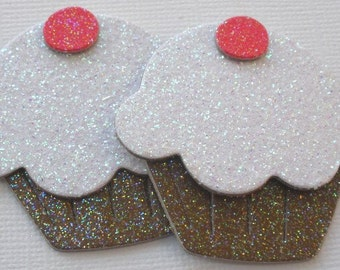 6 WHITE DELiGHTS - Glitter Sugar Coated Cupcakes - Chipboard Die Cuts