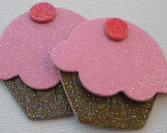 6 YUMMY DELiGHTS - Glitter Sugar Coated Cupcakes - Chipboard Die Cuts