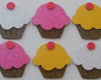 "GLiTTER CUPCAKE Die Cuts - Chipboard Cupcakes - Birthday Party Invitations -  White / Bubblegum / Yellow - 2"" inch Tall"