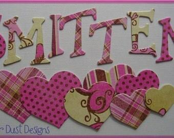 "SMiTTEN  Shimmery Bo Bunny Chipboard Letters and Heart Die Cuts - 1.5"""