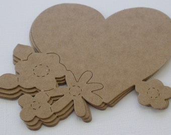 HEART w/ FLOWERS - Raw CHiPBOARD Unfinished Bare Die Cuts